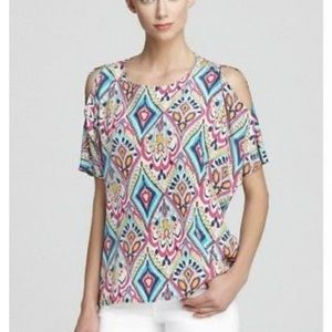 Lilly Pulitzer cold shoulder silk top